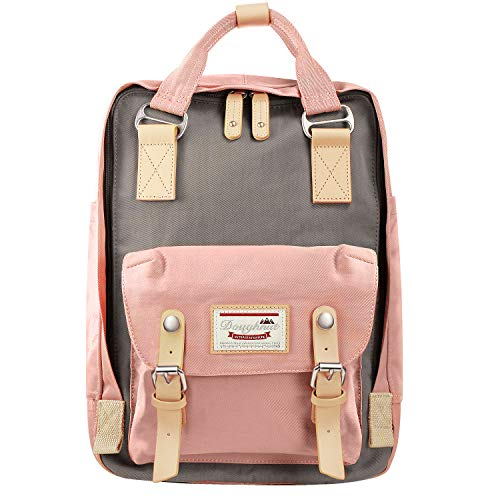 EXCPDT College Backpack, School Computer Laptop Bag Light Weight Business Travel Backpack for Women Girls, High School/College Student, Fits 13-15 inch Laptop (Pink&Gray)