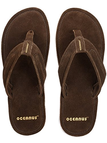 6de91b3d28e2 Oceanus Men s J D Flip Flop Split Leather Sandals-Dark Brown cheap ...