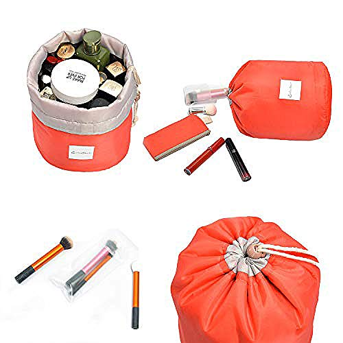 Charyeah Cosmetic Bags Makeup Bag Travel Barrel Cases Kit Organizer Bathroom Storage Carry Case Toiletry Bags Multifunctional Bucket Toiletry Bag Polyester 300T (Red)