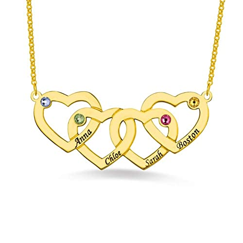 Amazon com: DXYAN Family's Necklaces Letters Engraved Four