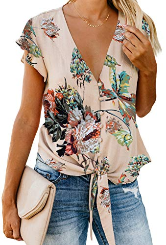 (Ladies Blouses and Shirts Summer Tops for Women V Neck Button Down Elegant Chiffon Shirts Floral Apricot XL)