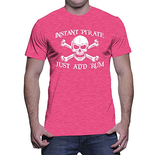 HAASE UNLIMITED Men's Instant Pirate, Just Add Rum T-Shirt (Pink, X-Large) ()
