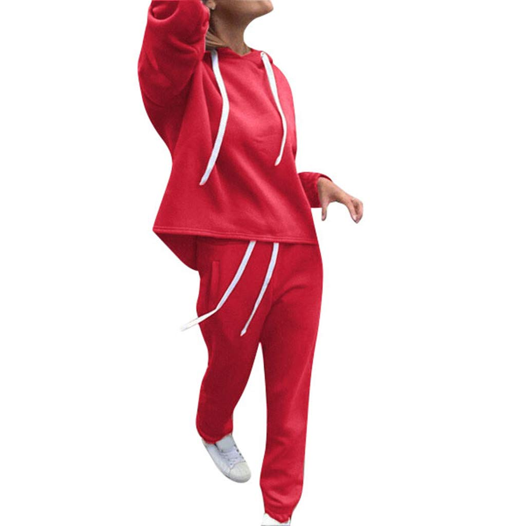 Big Sale!! 2Pcs/Set Women Solid Color Hooded Sweatshirt and Pant Tracksuit Sport Suit Red by F_topbu Women Casual Pants