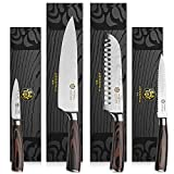 """Kessaku 4 Knife Set - Samurai Series - Japanese Etched Damascus High Carbon Steel - 8"""" Chef, 7"""" Santoku, 5.5"""" Utility, 3.5"""" Paring"""