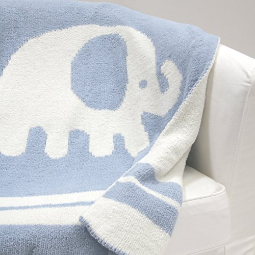 Lambs & Ivy Signature Elephant Tales Chenille Blanket - Blue/White