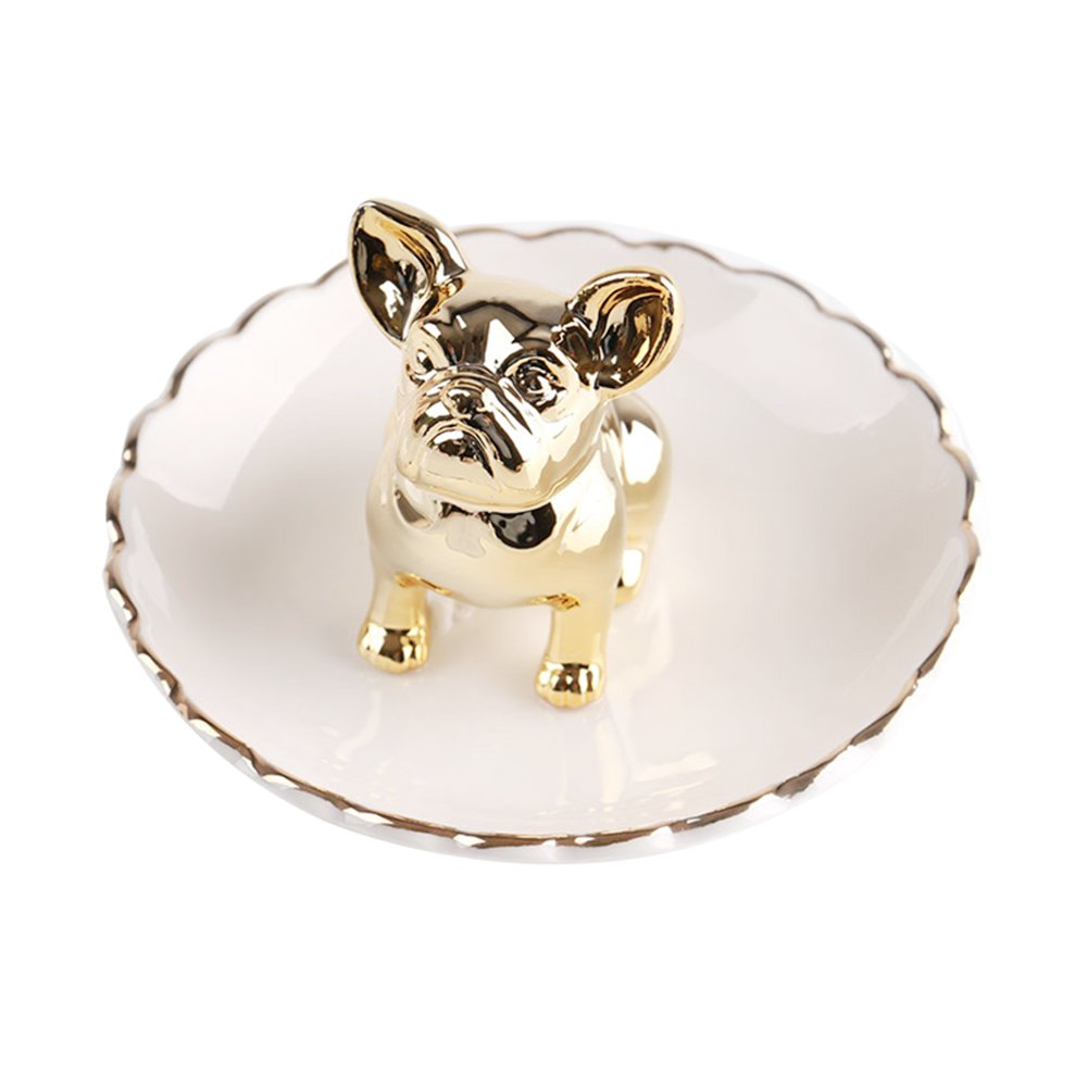 Colias Wing Home Decoration Desk Ornaments-Cuddly Animal Bulldog Stylish Design Ceramic Trinkets Tray Necklace Earrings Rings Stand Display Organizer Holder Jewelry Holder Decor Dish Plate-Golden