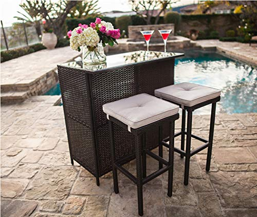 SUNCROWN Outdoor Bar Set 3-Piece Brown Wicker Patio Furniture - Glass Bar and Two Stools with Cushions for Patios, Backyards, Porches, Gardens or Poolside from SUNCROWN