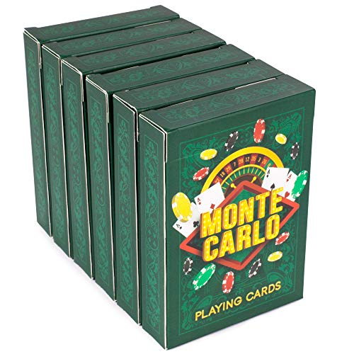 Brybelly 6-pack of Monte Carlo Poker Decks | Premium Linen Finish Playing Cards, Standard Index, Poker Size | Casino Quality Plastic-Coated Craft 310gsm Black Core Cardstock | Premium, Bulk Card Decks