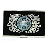 Mother of Pearl MOP Phoenix Design Name Mens Business Credit Id Card Holder Case Metal Stainless Steel Engraved Slim Money Wallet