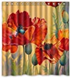 "Artsadd Red Poppy Passion Waterproof Fabric Shower Curtain 66""(w) x 72""(h)"