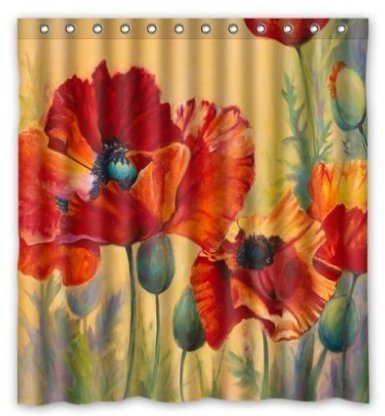Artsadd Red Poppy Passion Waterproof Fabric Shower Curtain 6