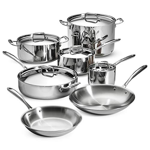 Lagostina Q939SC64 Tri-Ply Stainless Steel Multiclad Dishwasher Safe Oven Safe Glass Lid Cookware Set , 12-Piece, Silver