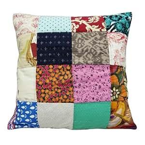 """Large Multicolor Cojín Diseñador Cotton labor de retazos Funda de almohada decoración del hogar India arte Regalo 24"""" pulgadas"""