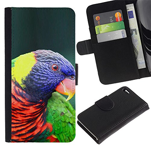 LASTONE PHONE CASE / Luxe Cuir Portefeuille Housse Fente pour Carte Coque Flip Étui de Protection pour Apple Iphone 4 / 4S / parrot colorful ornithology purple bird