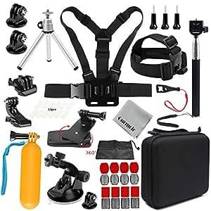 Gurmoir Sports Action Camera Accessories Kit Outdoor Travel Camera Accessories Kit for GoPro Hero 8/Hero 7 Black/6/5/4Session5/4/DJI Osmo Action/AKASO/SJCAM/YI/APEMAN and More Action Cameras(GT08)