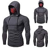 Men Pullover Hoodie Mask Skull Plain Color Long Sleeve Funny Sweatshirt Tops Blouse (L, Gray)