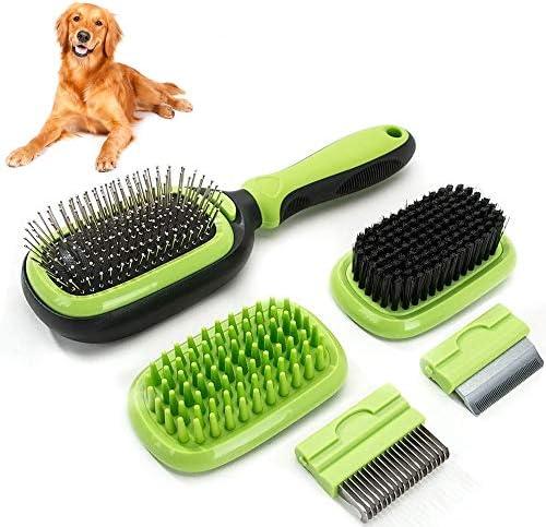 Sammiu Pet Grooming Brush 5 in 1 Pet Massage Kit Dog Brush Cat Brush Bath/Bristle/Pin Brush Dog Deshedding Tool Dematting Comb for Dog and Cat with Long or Short Hair
