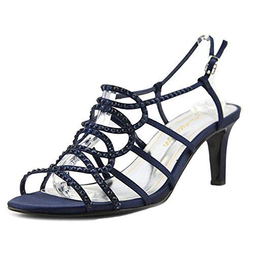 Caparros List Women Open Toe Canvas Blue Sandals, Navy, Size 8.0