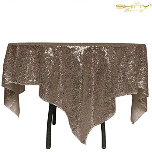 Sequin Tablecloth 50x50 Inch Chocolate Square Table Cloth for Square or Round Tables Holiday Dinner Birthday Party Tablecloth P0530