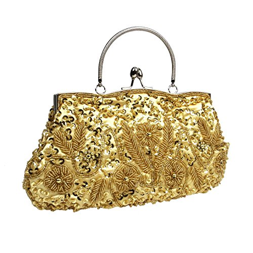 party ladies purse beaded golden sequin clutch vintage pearl bag bag handmade UK evening stone qcvAtgBvz