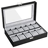 SONGMICS Watch Box, Watch Case, Storage Box with Large Compartments, PU Cover, Velvet Lining, Glass Window, Great Gift Choice, Black, UJWB14BK
