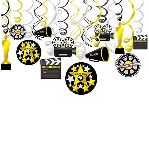 Konsait Movie Foil Swirl Hanging Decorations, Hollywood Movie Themed Hanging Swirl Oscar Party Decor Favors Supplies - Gold Black Silver Decor(18Pack)