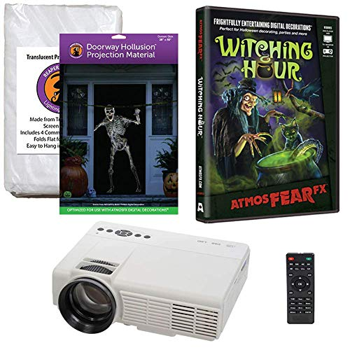 Halloween Window Projection Kit Includes 1200 Lumen Projector, 2 High Resolution Projection Screens (R/D) and AtmosFEARFx Witching Hour on DVD -