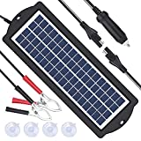 soyond Solar Car Battery Charger 12V Battery Trickle Charger Maintainer Solar Panel Power Charger Portable Backup for RV Motorcycle Boat Marine Trailer Tractor Powersports ATVs Snowmobile
