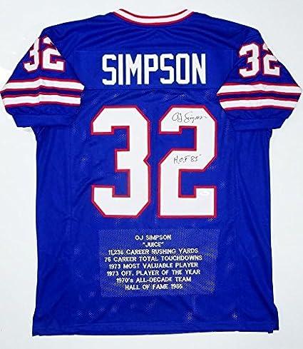 on sale d7957 e01e2 O.J. Simpson Signed Jersey - O J Blue Pro Style Stat2 HOF W ...
