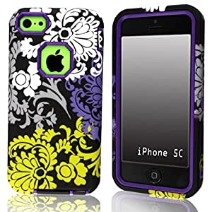 SUPWISER-09AKUAN 3-in-1 Hybrid Back Case Cover Fit For iPhone 5C with Stylus Pen,Screen Protector and Cleaning Cloth