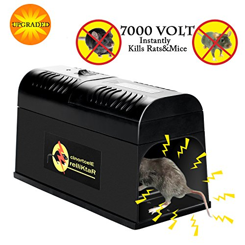 Verfanny Electronic Rat Traps,Effective and Powerful killer for Rat,Squirrels Mice and Other Similar Rodents, Using High Voltage Humane Exterminating - Best Pest Control/2018 Upgraded - Set Voltage High