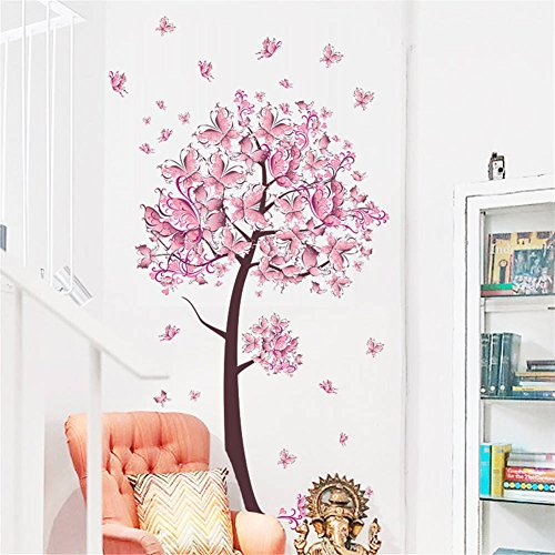 BIBITIME Beautiful Butterfly Tree Wall Decals Living Room Branch Butterflies Hearts Vinyl Sticker for Nursery Bedroom Kids Room Decor Art Mural DIY PVC Decorations