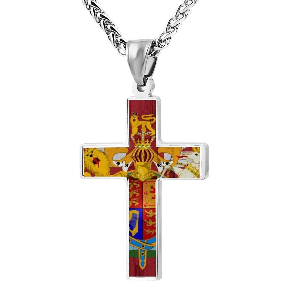 LUQeo Cross Necklace England Christ Crucifix Necklace Fashion Religious Jewelry Pendant