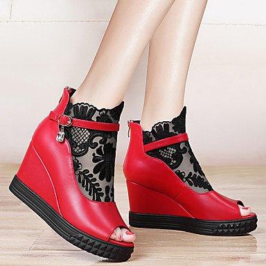 Mujer Vestido LvYuan Oficina Semicuero y Rojo Noche Cuña Sandalias Otro Red y Tacón Negro Trabajo Fiesta Tq1qHd
