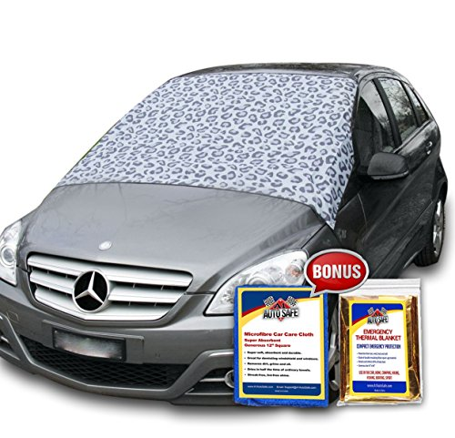 SnowOFF Leopard Print Car Windshield Snow Cover Sun Shade Protector - WINDPROOF Straps, Wings Suction Cups, Magnets - BONUS Demist Cloth + Blanket - Winter Ice Rain Frost Guard Automotive Hood Covers