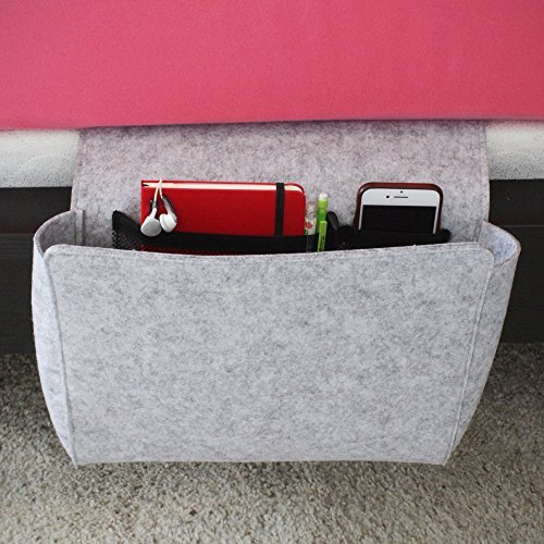 Prime Motif Gray Bedside Caddy with Extra Pockets - 1 Large Pocket and 2 Mesh Pockets - Bedside Storage Organizer Modern Felt Magazine Holder - Simplistic Design Hang Bag for Books, Remote, Laptop