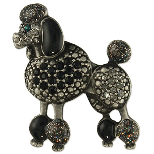 Poodle Dog Pin (CRYSTAL ANTIQUE SILVER PLATED BLACK POODLE DOG BROOCH PIN MADE WITH SWAROVSKI ELEMENTS)