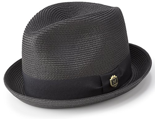 076f7aba051df MONTIQUE Braided Straw Stingy Brim Pinch Fedora Hat Matching Grosgrain Band  H-55