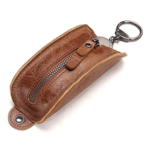Contacts Genuine Leather Car Key Case Wallet Key Holder Bag for Men Women Brown