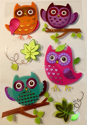 owl-hooters-3d-dimensional-bling-decorative-scrapbook-stickers-embellishments-6-count