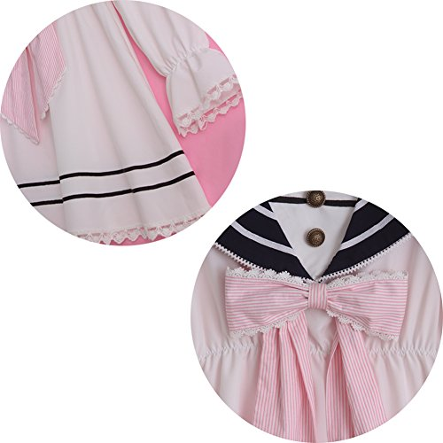 Lemail Girls Sailor School Uniform Chiffon Long Sleeve Japanese Pleated Mini Dress Pink M by Lemail wig (Image #7)