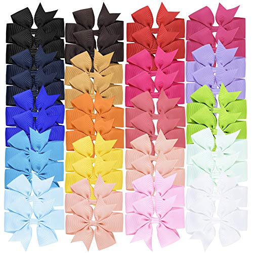 20 Pair 3 Inch Baby Girls Hair Bows Boutique Ribbon for Teens Toddlers