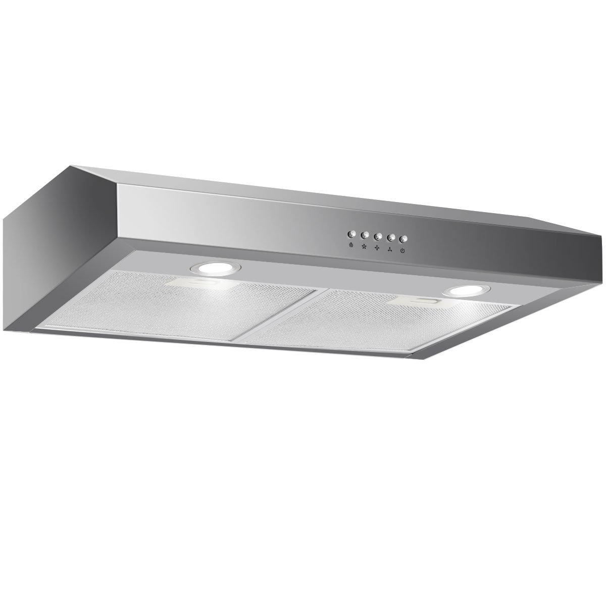 Costway 30 Capable Under Cabinet Range Hood 3-Speed Stainless Steel Cooking Vent Fan with LED Light (Under Cabinet with 7 Height)