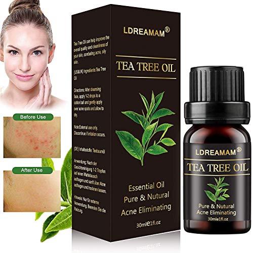 Aceite Esencial de Arbol,Aceite esencial de arbol de te,Tea Tree Essential Oil,Para masaje,Alivia las irritaciones comunes de la piel,la piel seca y agrietada,las cuticulas y las espinillas,anti-acne