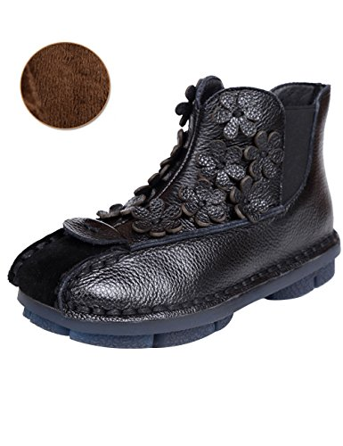 Zoulee Womens Leather Flowers Non-Slip Boots Soft Bottom Flat Ankle Boots Black Fleece zMo8m