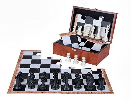 【着後レビューで 送料無料】 jigchessチェスセット – B0776CSYDD チェスボードジグソーパズル –、チェスピースおよび木製ボックス B0776CSYDD, 福田町:beb9c635 --- nicolasalvioli.com