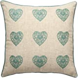 Catherine Lansfield Home Vintage Hearts Cushion Cover, Duck Egg, 45 x 45 Cm