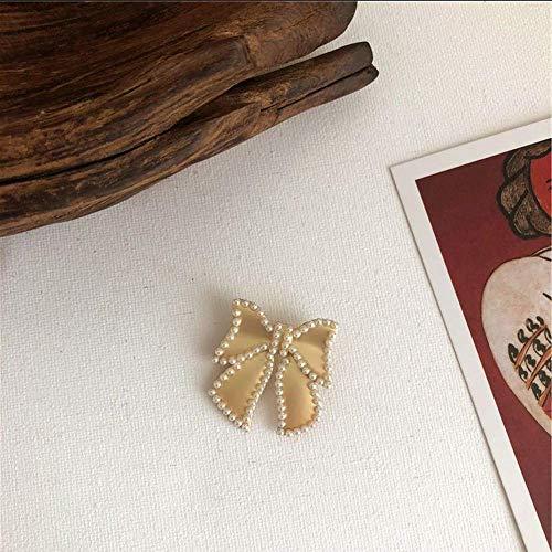 - Yivison Student Minimalist Design Pearl Bow Brooch Versatile Pearl Buckle