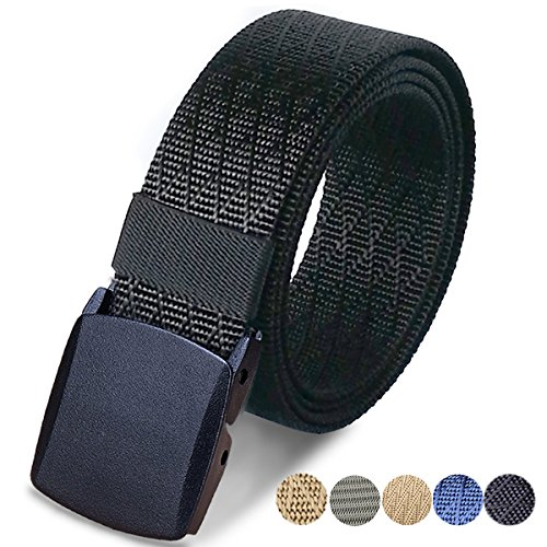 Metal Mens Jeans - WYuZe Mens Military Tactical Web Belt, Casual Nylon Webbing with No Metal Buckle,Black,Waist: 28