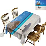 Party Rectangular Tablecloth W54 x L72 Seaside Parasol and Chair Sunny Day in Romantic Beach...